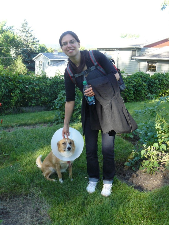 Xochitl says good-bye to Cone-On the Luparian the morning of 7-13-15 before flying back to Chicago.