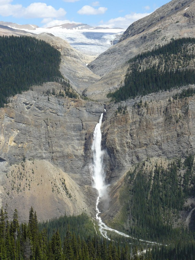 Takakkaw falls from the Iceline Trail the previous day (July 24th).