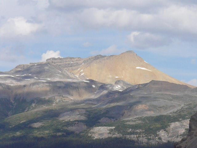 SPHP took this photo looking NE from Bow Glacier Falls. It wasn't until writing this post on 8-2-15, that SPHP realized this is a photo of Cirque Mountain, which Lupe climbed on 7-27-14 during her 2014 Dingo Vacation.