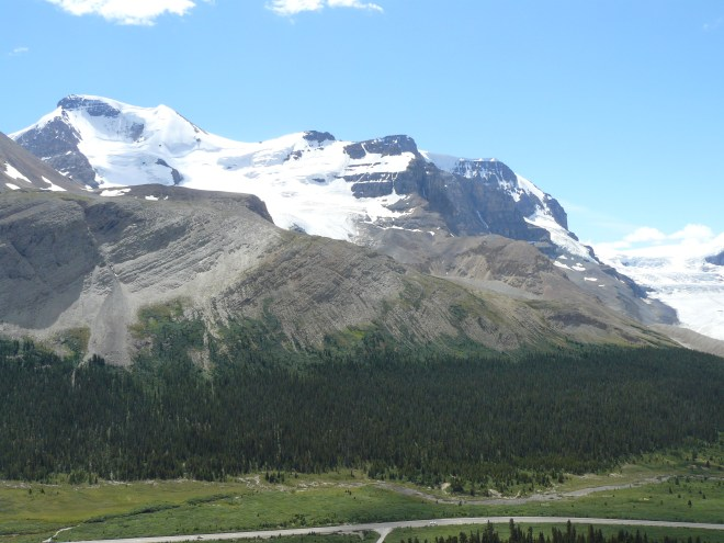 Mt. Athabasca (L), Mt. Andromeda (C) and the Athabasca Glacier (R)from the Wilcox Pass Trail.