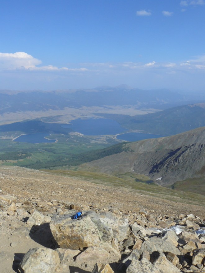 Twin Lakes from Mount Elbert. Photo looks SE.