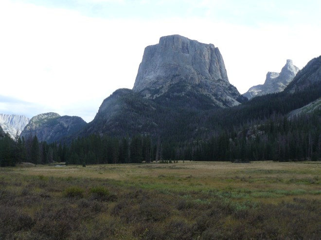 Looking back at Squaretop Mountain. Granite Peak is the comparatively small hill on the L.