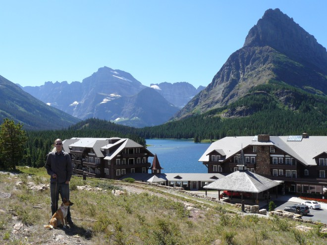 Lupe and Lanis arrive near the Many Glacier Hotel at Swiftcurrent Lake.