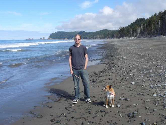 Lupe and Lanis at Rialto Beach in Olympic National Park. Lupe had never seen the broad expanse of the open ocean before.