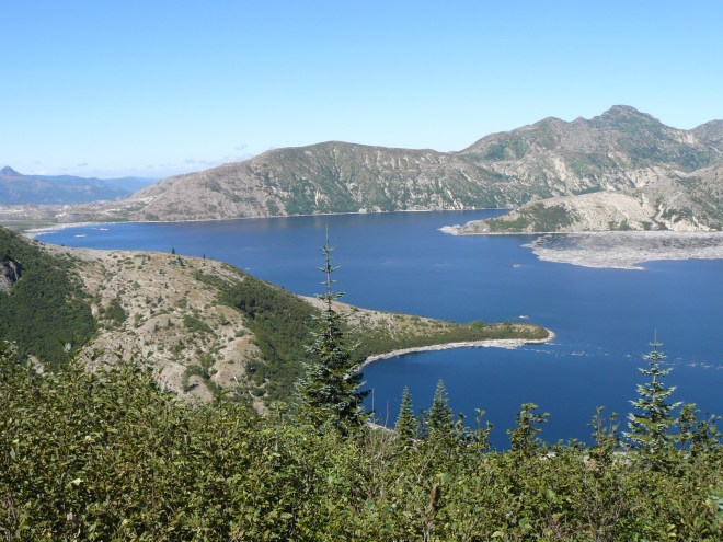 Spirit Lake is N of Mt. St. Helens. The outlet from the lake was blocked by debris from the collapsed mountainside. The water level was stabilized by engineers at a level 200 feet higher than before the May, 1980 eruption.