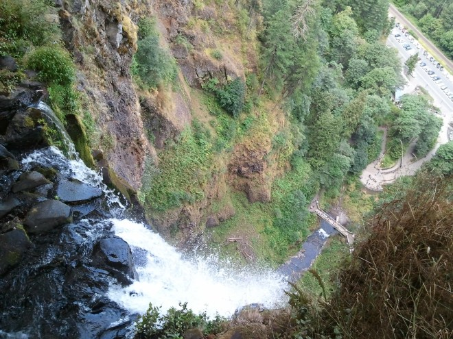 The view from the brink of upper Multnomah Falls.