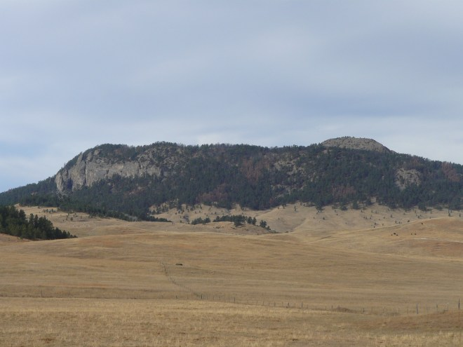 Inyan Kara from the SE. Although Inyan Kara is on roughly 2 square miles of Black Hills National Forest, the mountain is surrounded by privately held ranchlands.