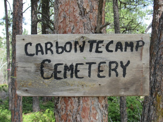 This misspelled Carbonate Camp Cemetery sign was near 5 graves. Online research later revealed that these graves would all have dated back to the late 1800's.