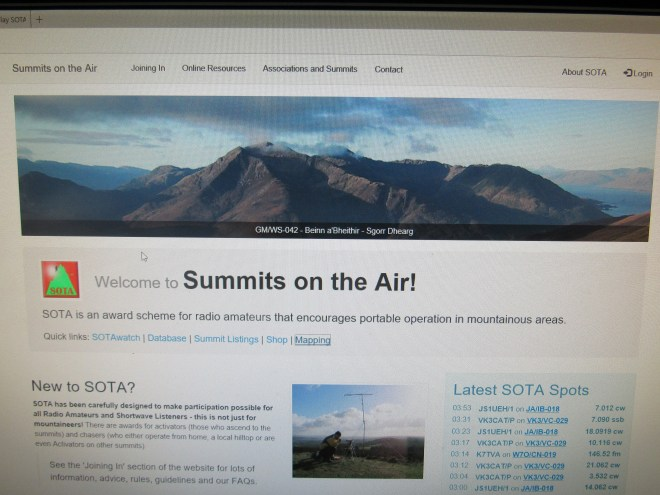 The home page for Summits on the Air (SOTA).
