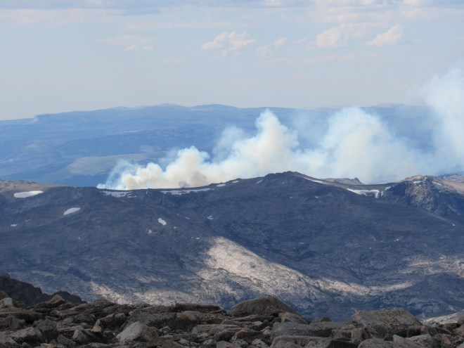 A look at a forest fire to the NNW with help from the telephoto lens.