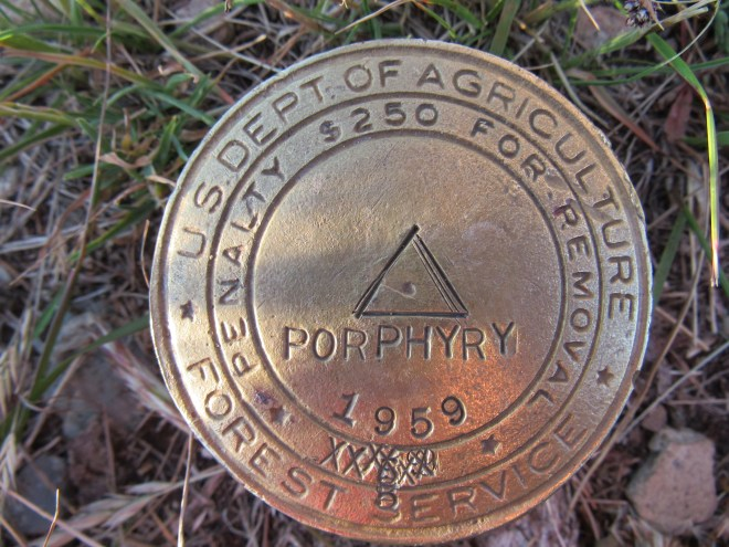Upon returning to the ranger tower, SPHP noticed this Porphyry Peak benchmark nearby. Photo looks, uh, down.