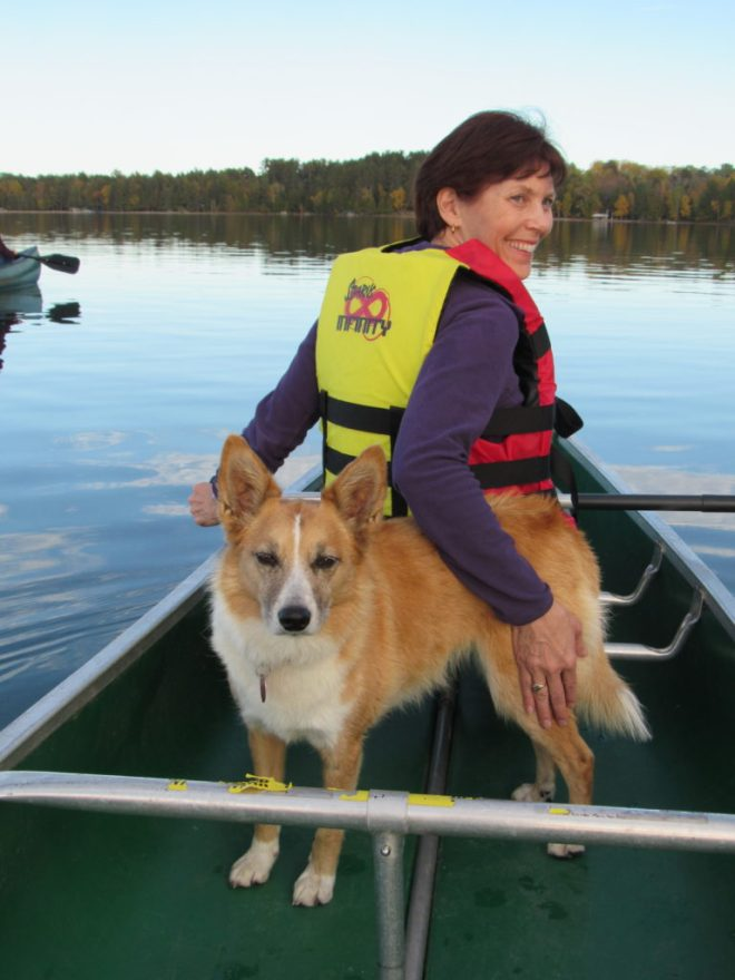 Lupe and Sandy again. Sandy was having fun. Lupe was still getting used to life as a sea dog. She was careful not to leap out of the canoe again.