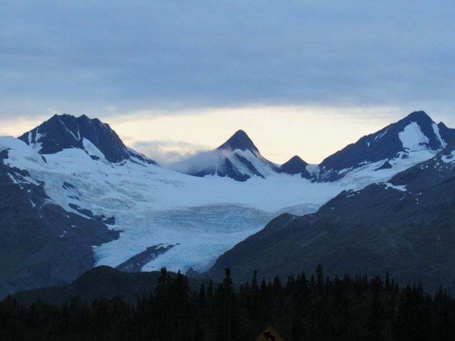 Upper reaches of the Worthington Glacier as seen from the Richardson Highway. Photo looks WSW.