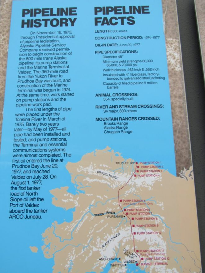 Information display near the visitor center E of the pipeline.