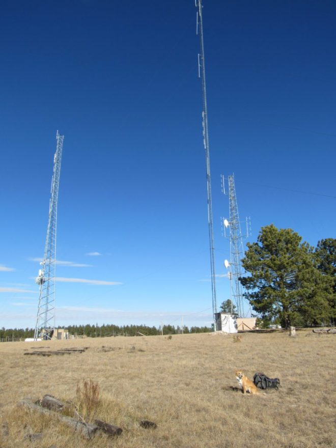 The three towers W of the summit. The towers on the L and R were new since Edward Earl was here in May, 2009. Photo looks N.