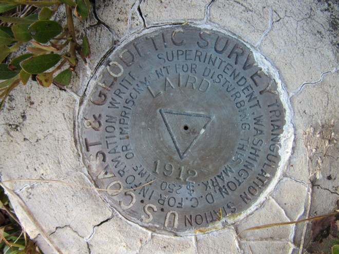 The Laird Peak survey benchmark was at the top of a small forested rise.