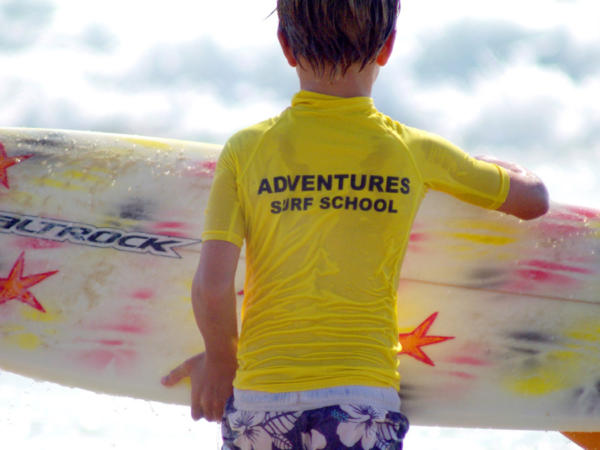 Child Surfing Lessons at Rest Bay