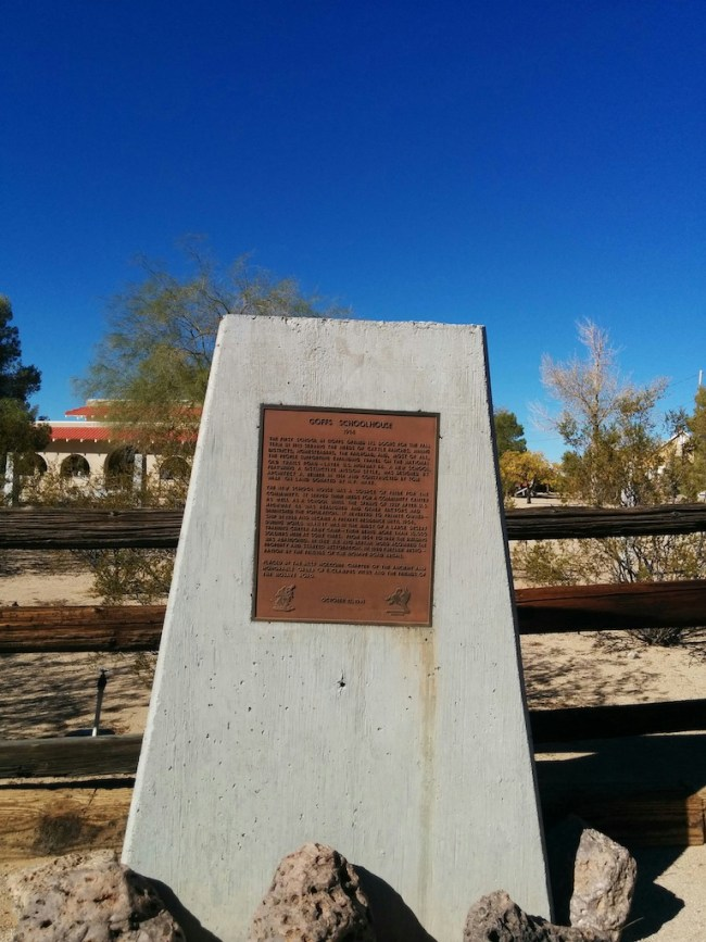 Historic marker at Goffs, CA