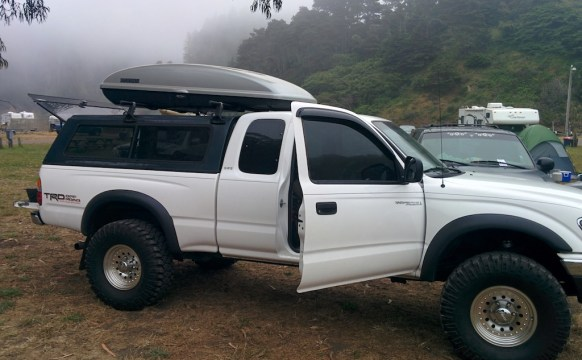 my old blue shell on the white Tacoma