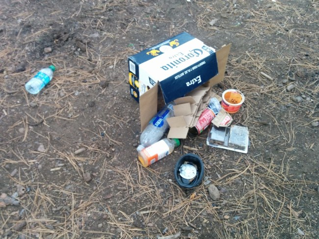 One of several piles of garbage left behind by previous visitors