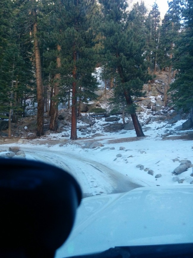 snow on the ground at Whitney Portal