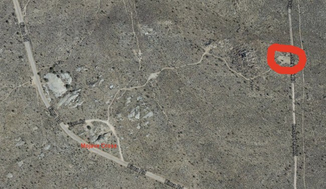 satellite photo showing where we camped in relation to the Mojave Cross
