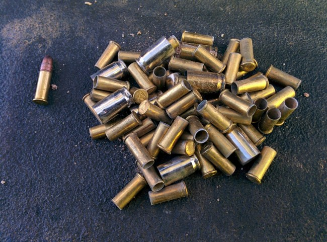 bunch of spent .22 shells
