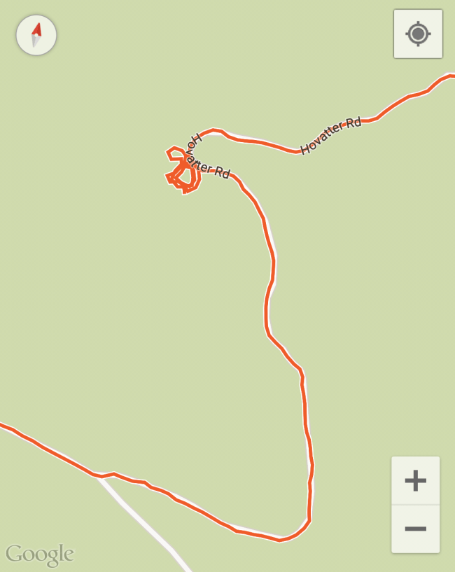 GPS track of our drive around the old Hovatter Ranch circular driveway