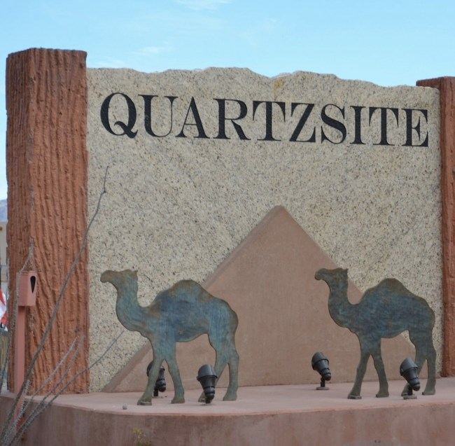 Camel signs welcoming you to Quartzite