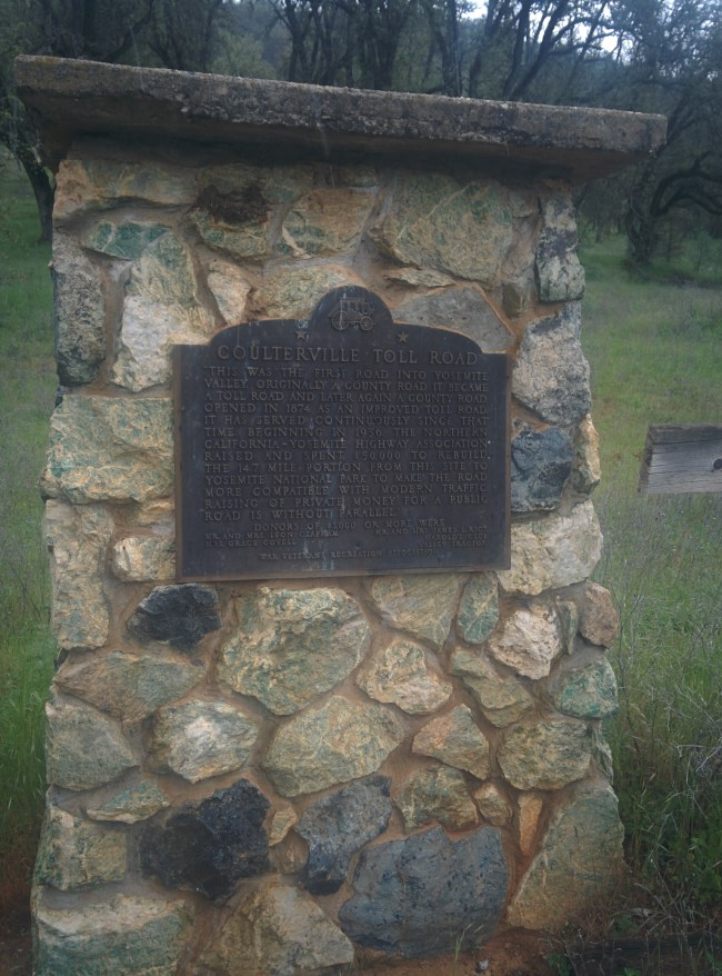 Roadside Historical Marker for the Coulterville Toll Road