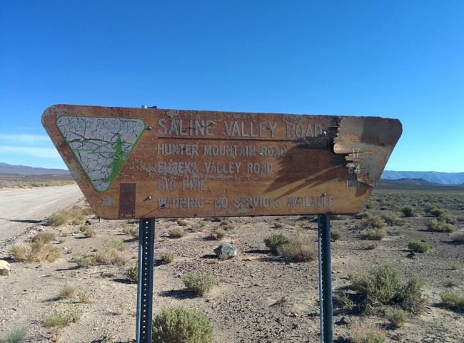Saline Valley Road sign