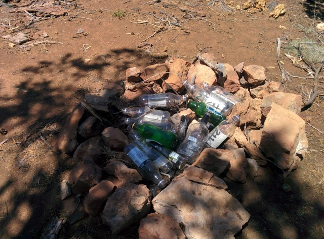 bunch of empty bottles in the fire pit
