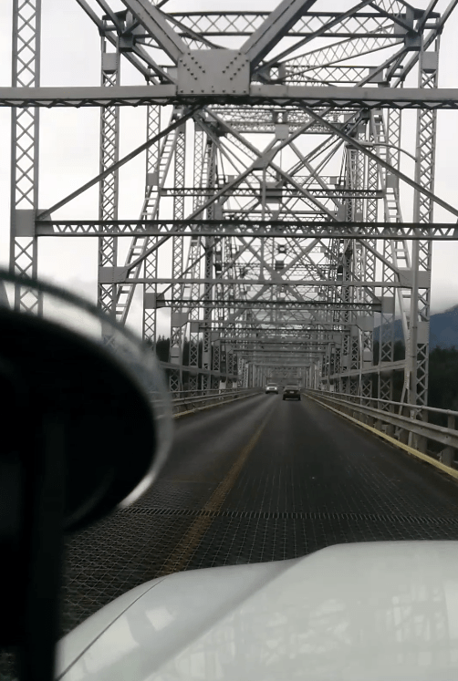 the view of the bridge while driving over it