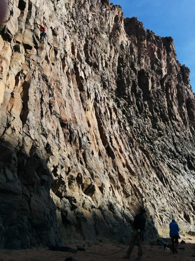 Rock Climbers On A Wall