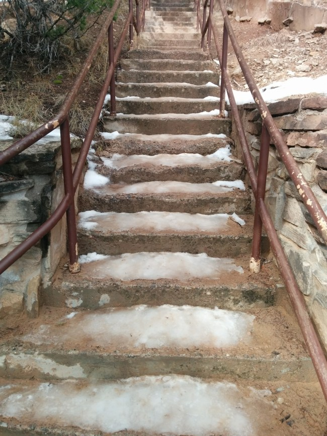icy concrete steps leading to the ampitheater