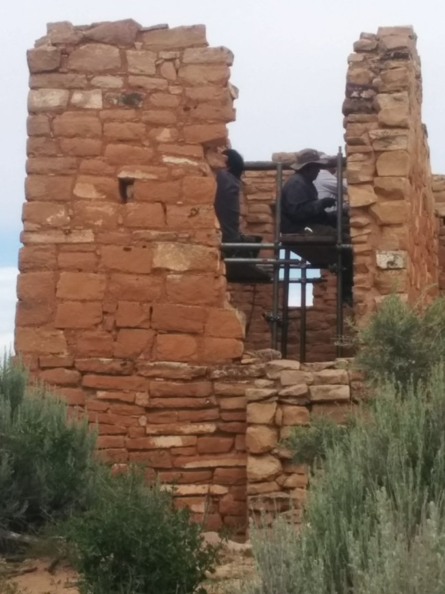 Preservation Crew At Work inside Hovenweep Castle