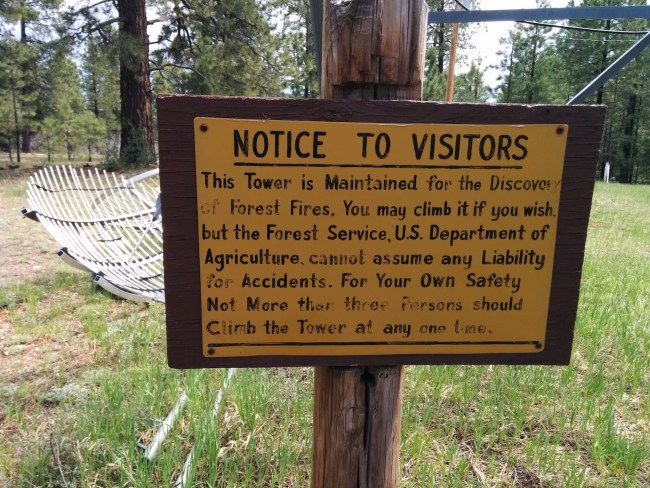 sign at the foot of the lookout stairs