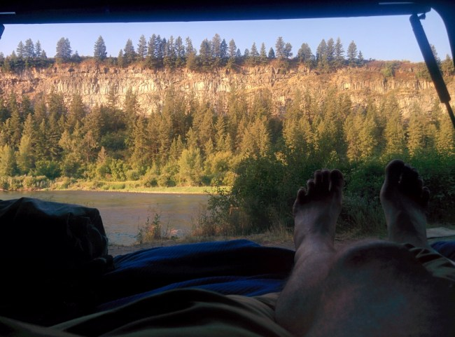 Looking out at the snake river from the camper shell