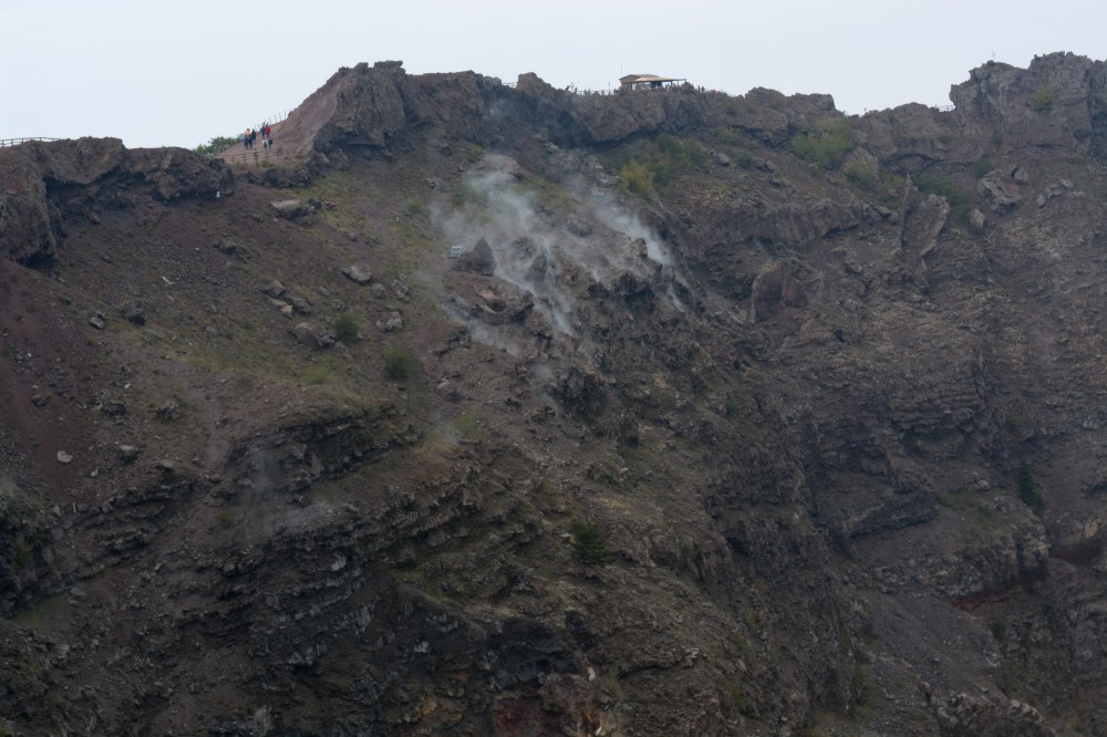 medium resolution of the people hiking in the top left corner make it easy to understand how massive the crater is and how much steam was being emitted on the day we were there