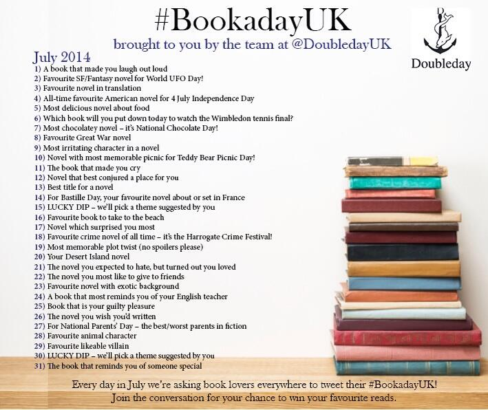 Goodbye June and hello July - #bookadayuk, now curated by Doubleday UK