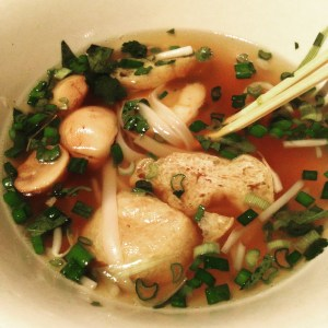 Pho chay with king prawns
