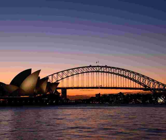 Sydney Harbour Bridge Opera House Sunset New South Wales