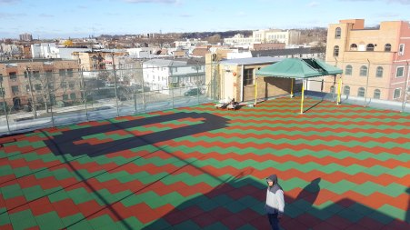 Playground Surfacing with Rubber Safety Tiles on a Rooftop in New York City | adventureTURF Playground Installers