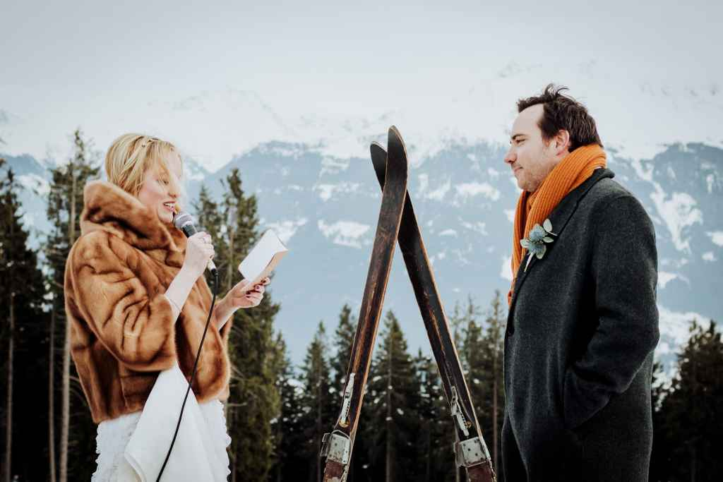 A mountain wedding in winter in the Austrian Alps
