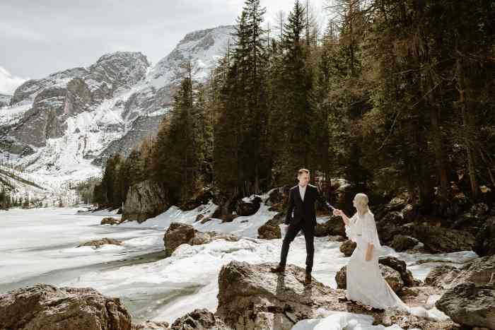 Destination wedding photographer at Lago di Braies in Italy Wild Connections Photography