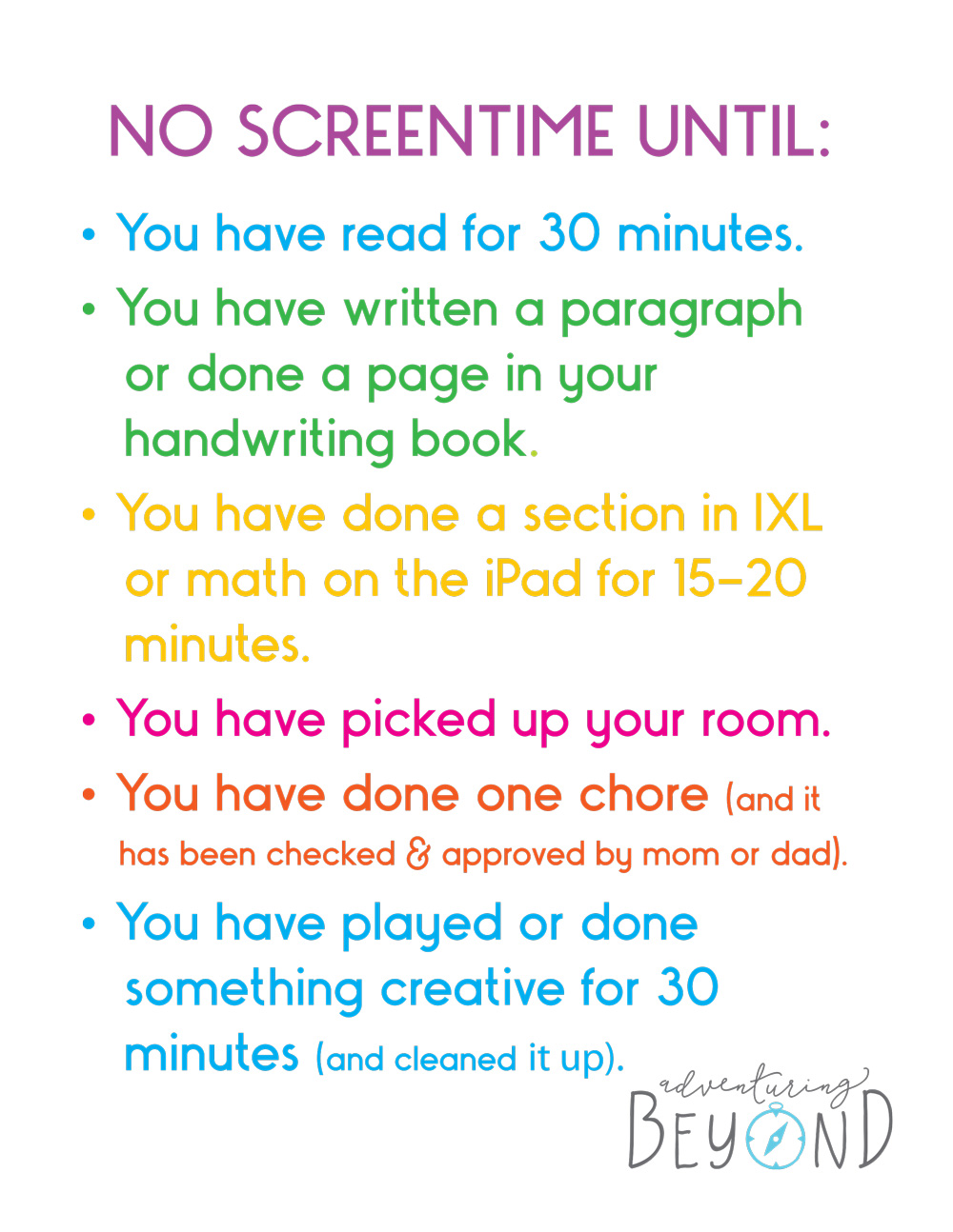 photograph regarding Screen Time Rules Printable known as Adventuring Past - Site 3 of 3 - Adventuring past