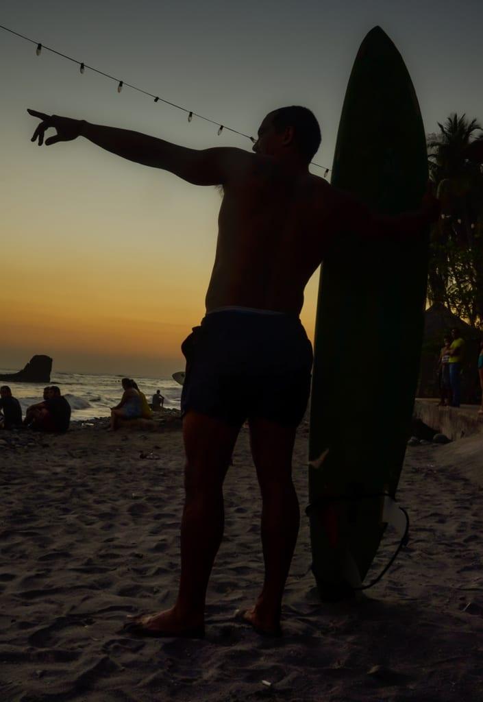 Surfer in El Tunco, El Salvador
