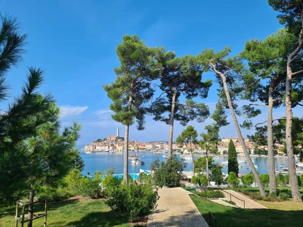 The city of Rovinj in the far distance, as seen from a green island with lots of pine trees partially obscuring the view.