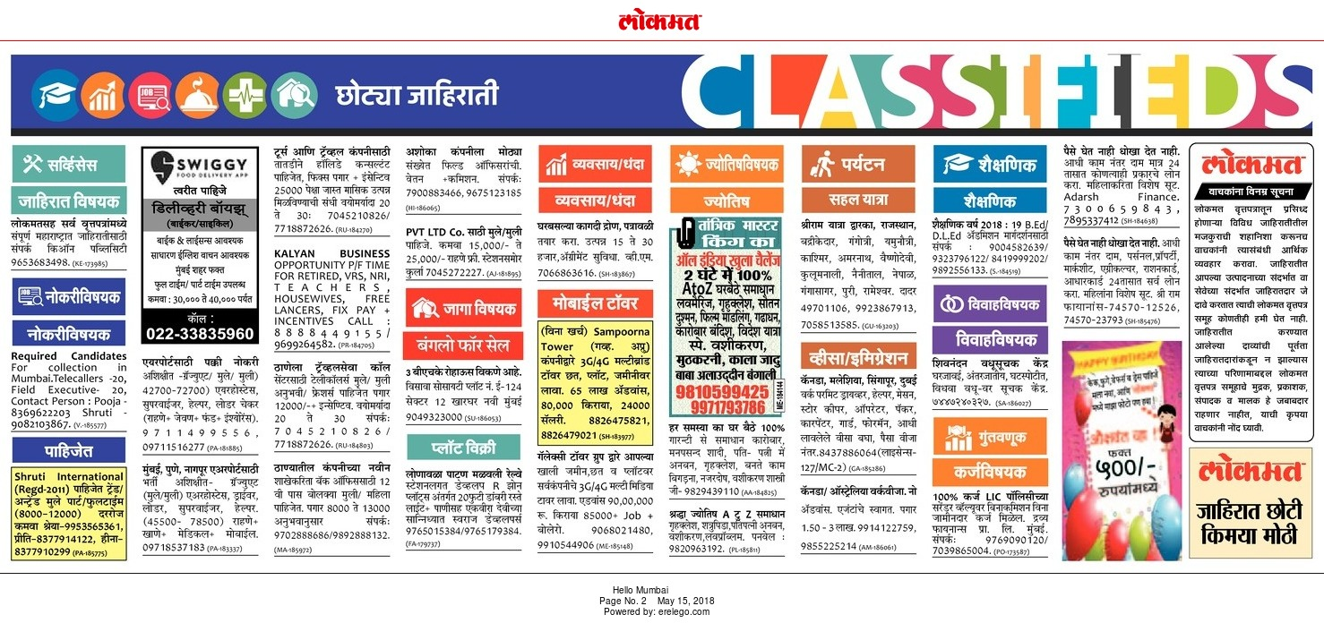 Lokmat Classified Ads Mumbai - Advert Gallery
