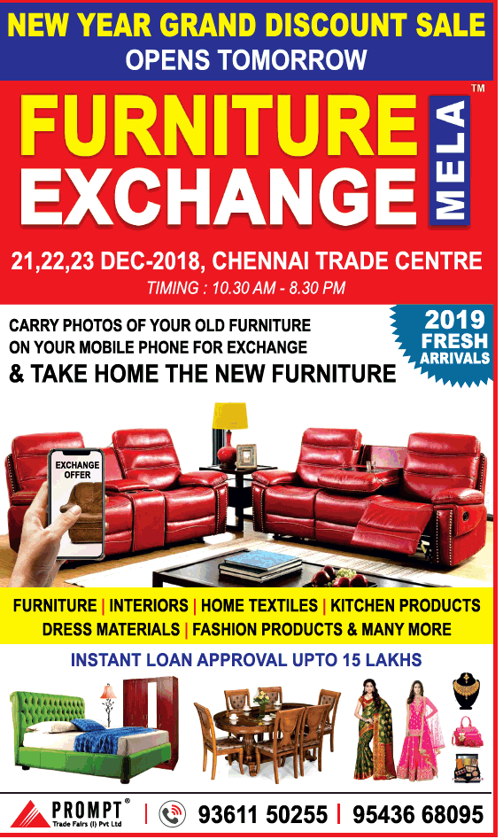 exchange old sofa for new in chennai best reclining reviews 2017 furniture mela year grand discount ad toi